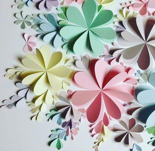 бумажные 3D-аппликации в интерьере декор фото