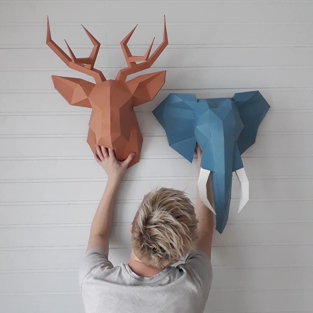 3D-фигуры оригами в декоре интерьера дизайн фото