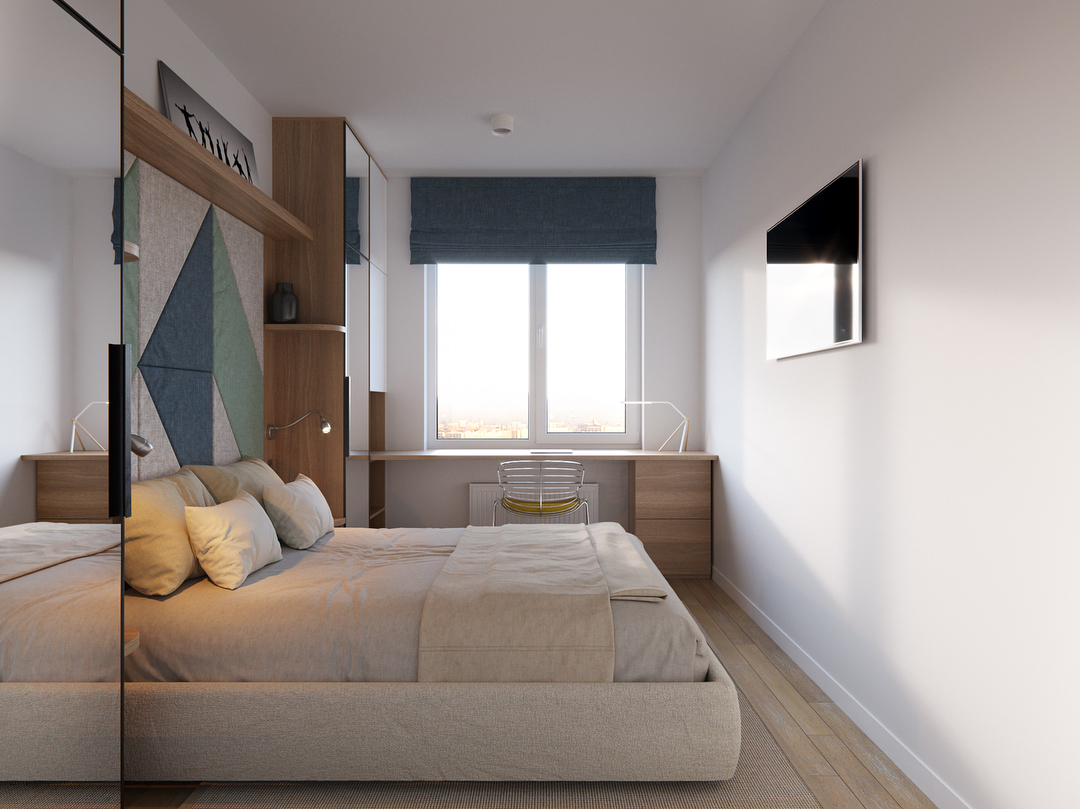 Просто телевизор в стене напротив кровати