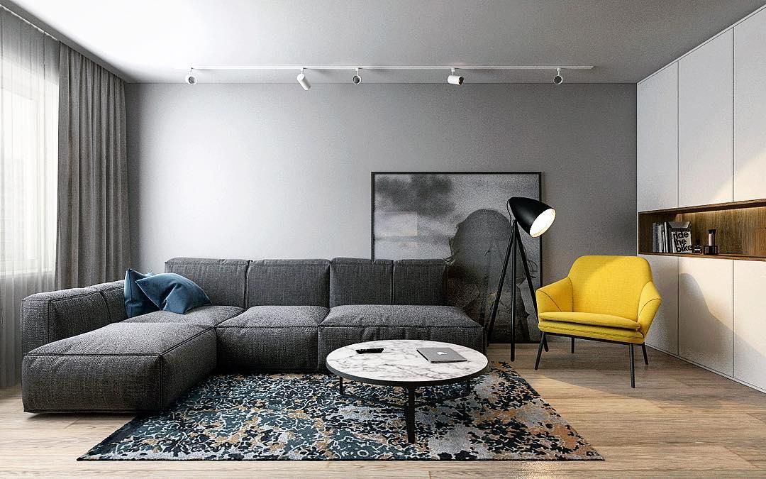 Стильный минималистичный интерьер современной гостиной