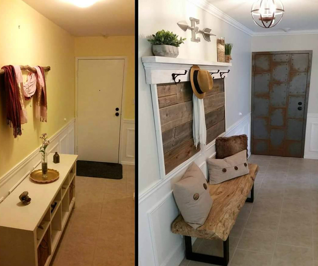 Стильный интерьер прихожей, ремонт до и после: фото