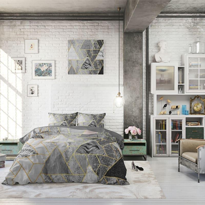 Спальня в разных оттенках серого