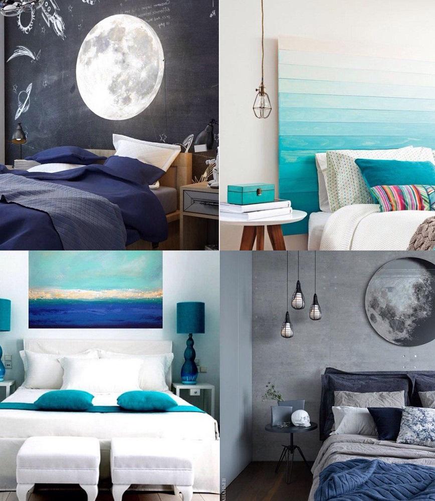 Спальня в серо-голубом цвете