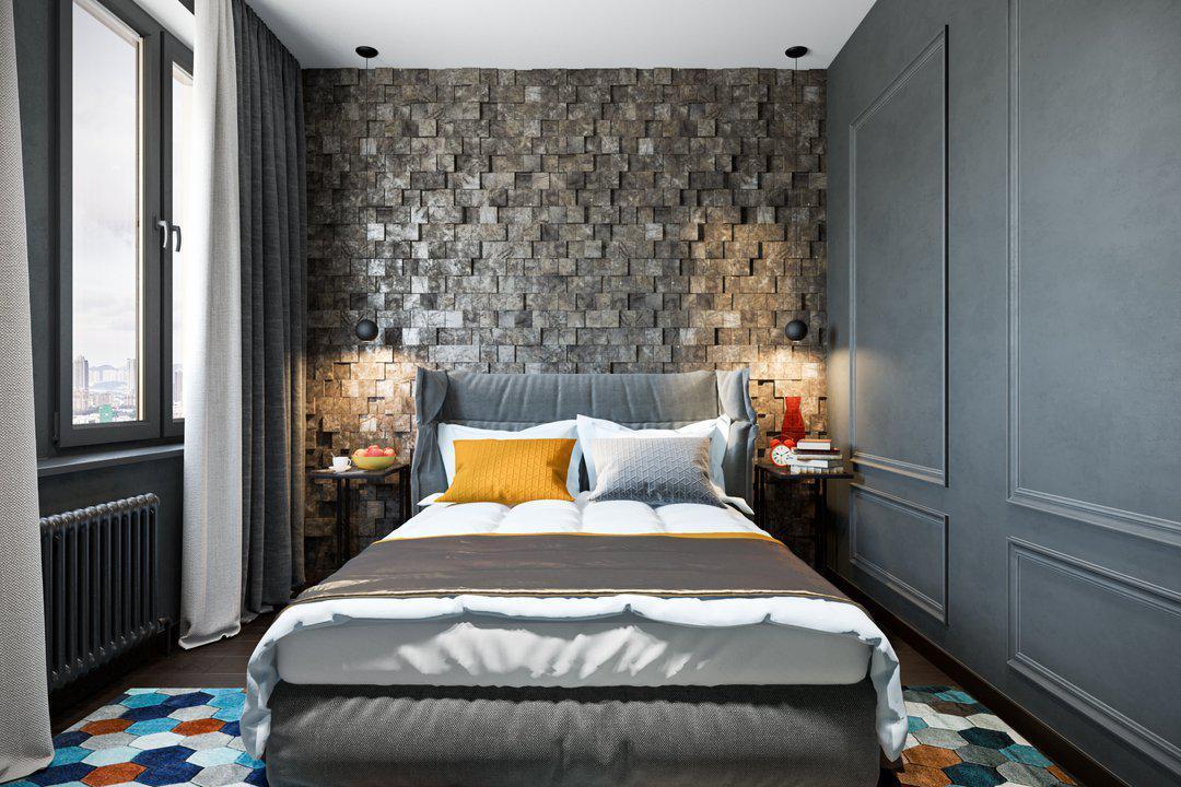 Дизайн спальни с кирпичной стеной