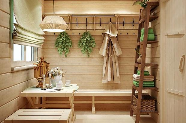 Предбанник в бане интерьер - Всё о бане