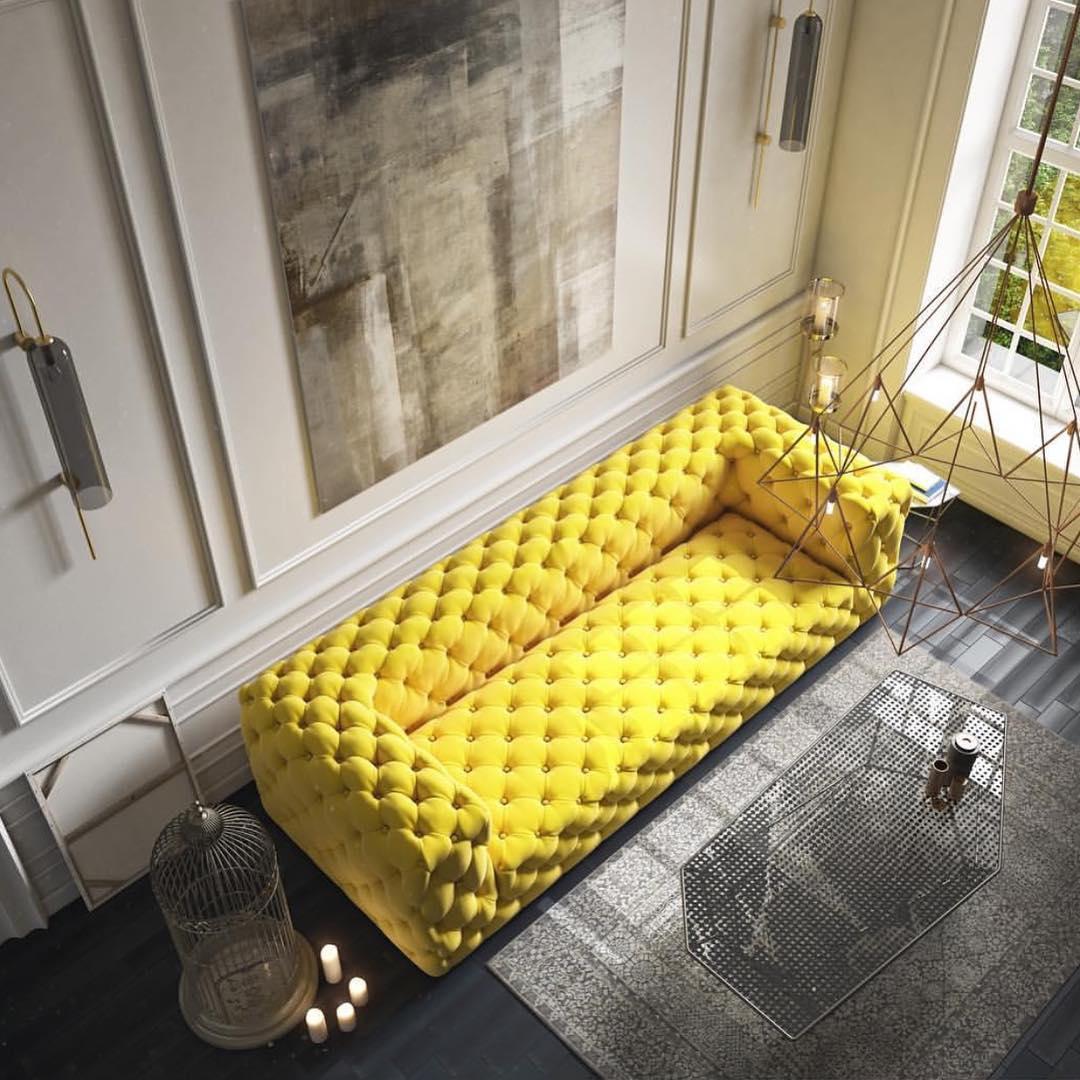 Желтый диван - стильно и ярко