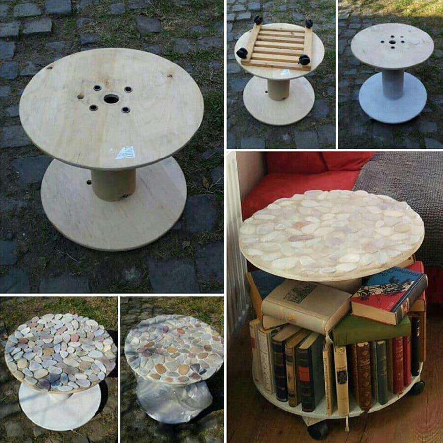 Стол из катушки и декоративных камней
