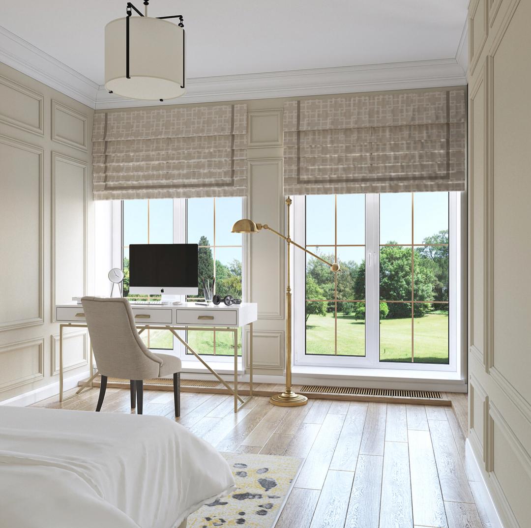 Короткие шторы в интерьере спальни