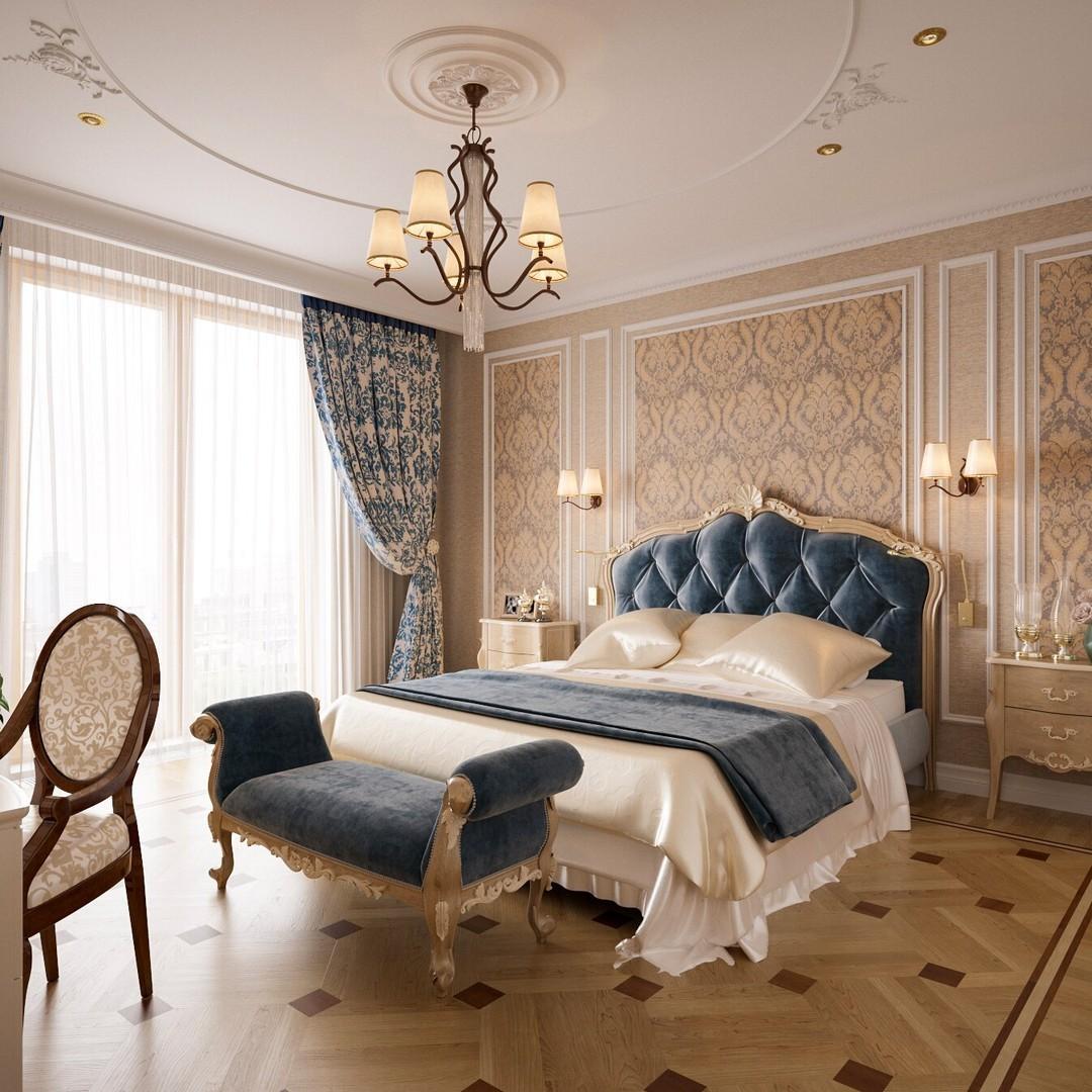 Классическая спальня со шторами