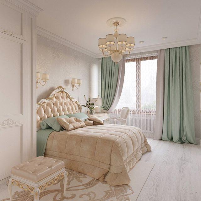 Классика в дизайне штор в спальне