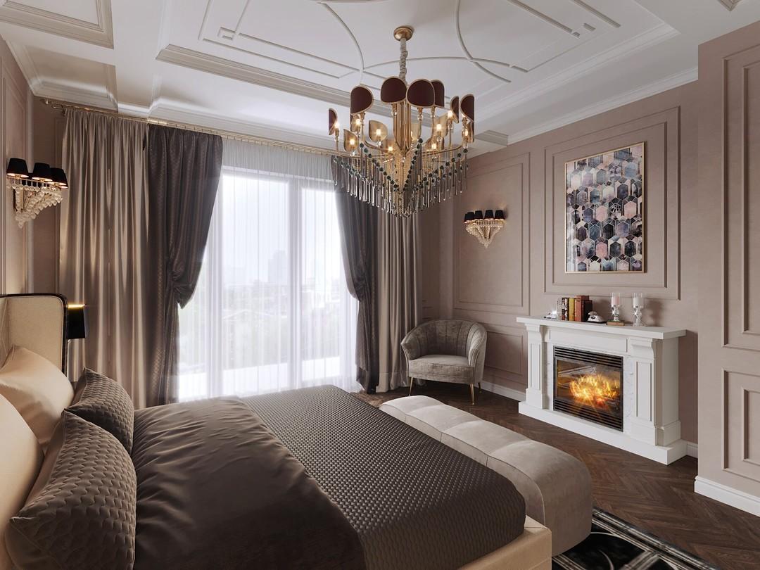 Бежевые шторы для спальни