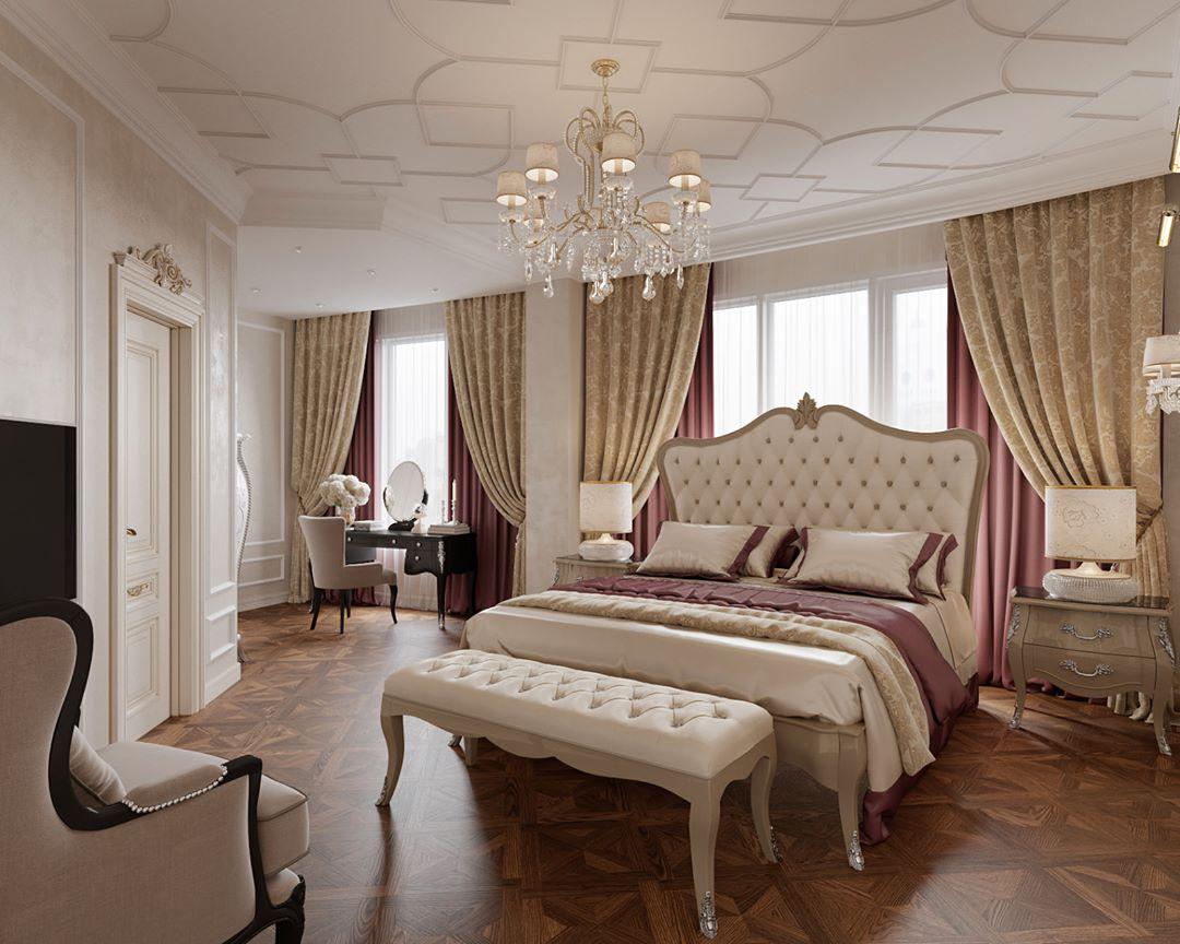 Желто-розовые шторы в спальне