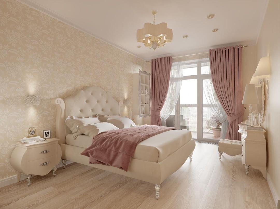 Розовые шторы в спальне