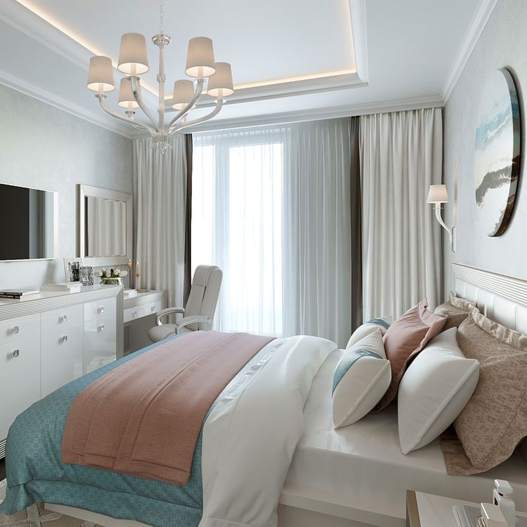 Интерьер монохромной спальни