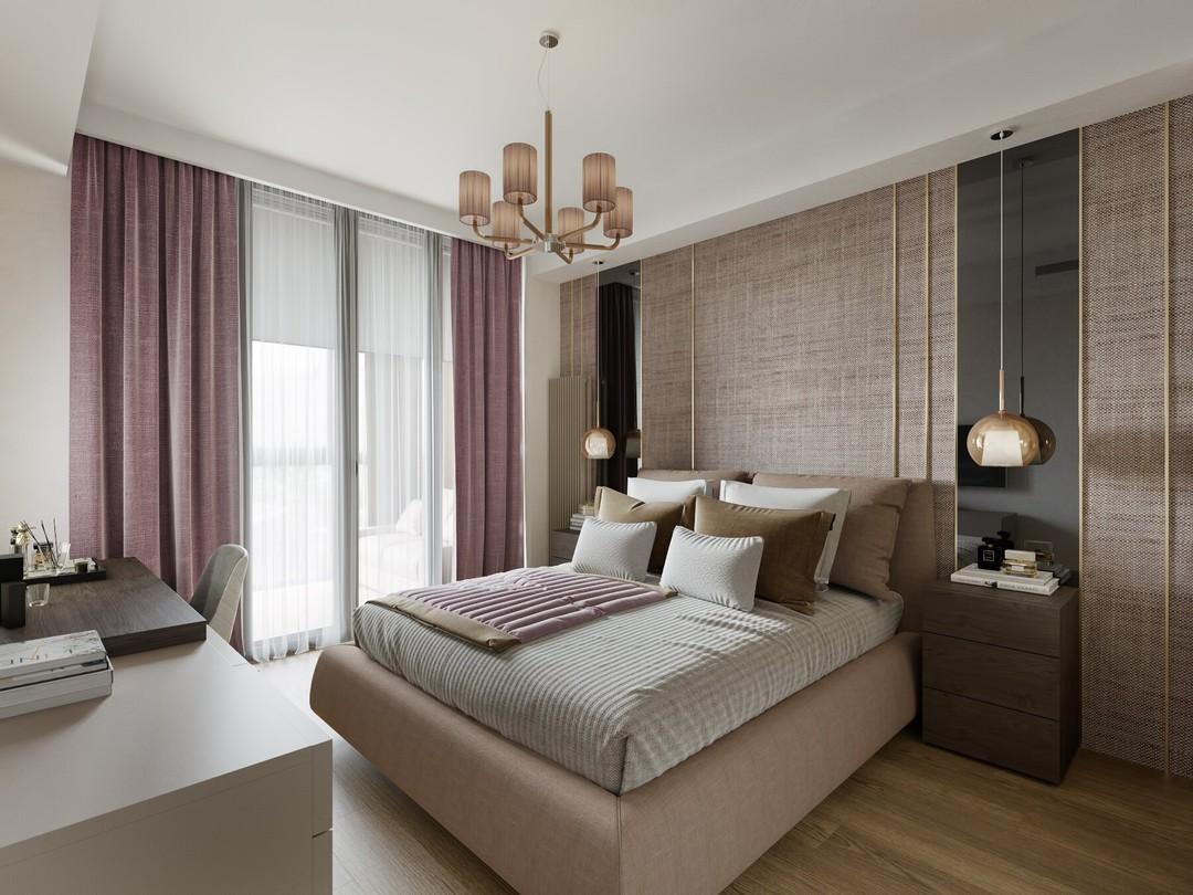 Современные розовые шторы для спальни