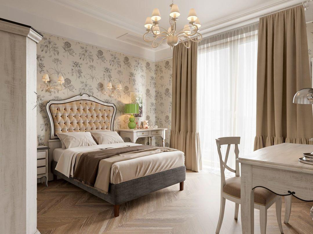 Светло-коричневые шторы в спальне