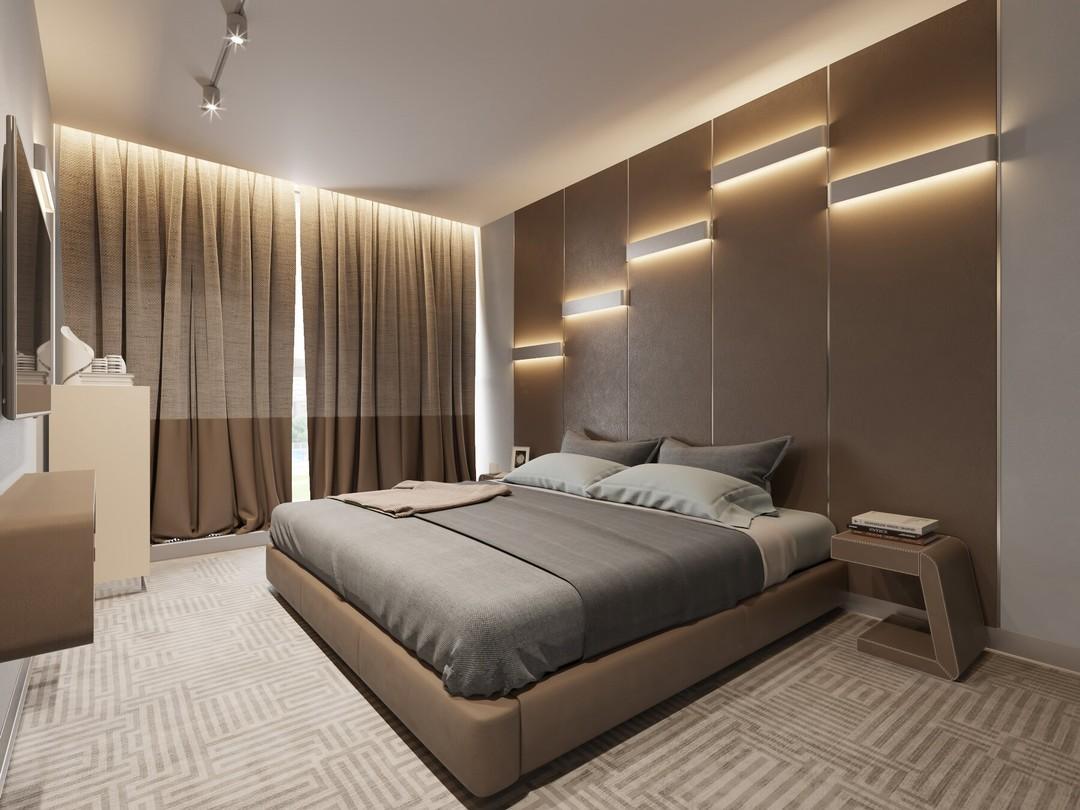 Бежево-коричневые шторы в спальне