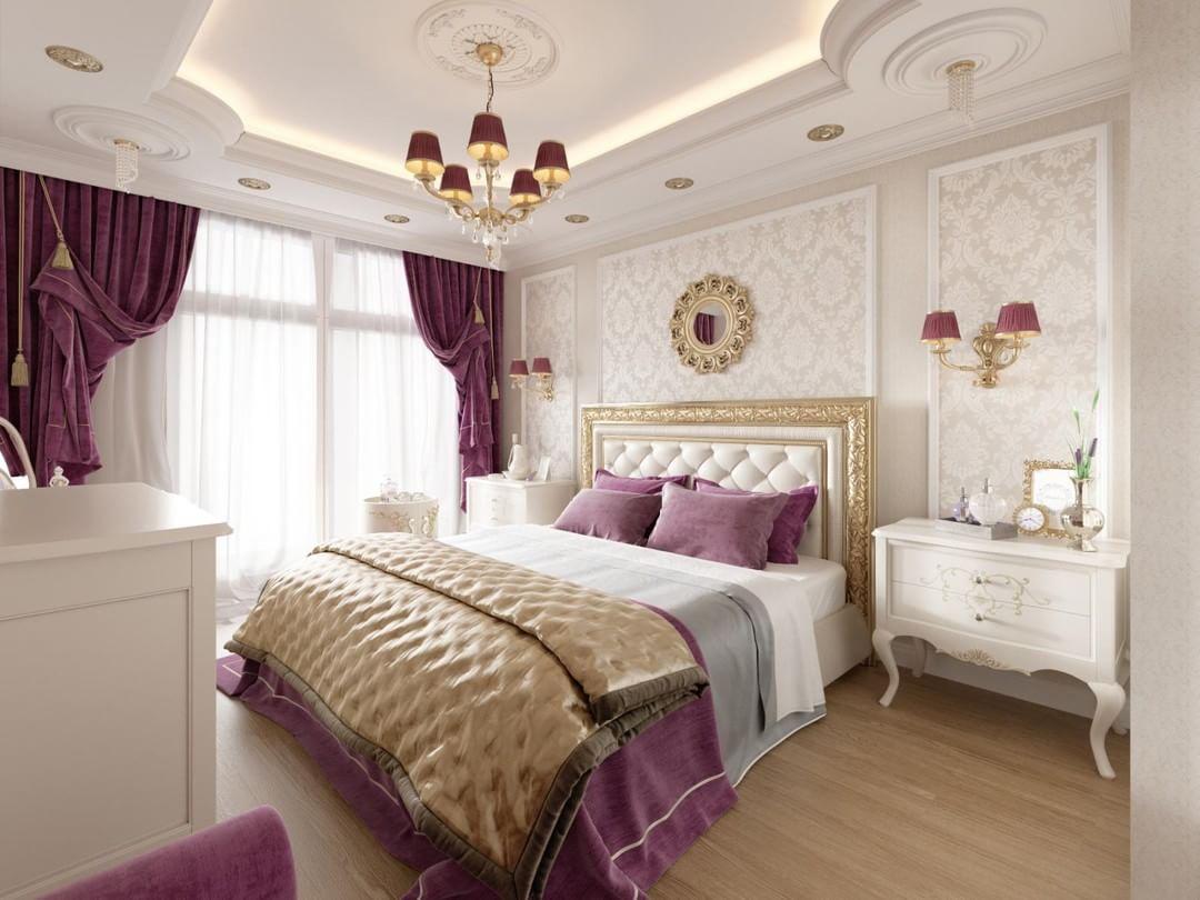 Фиолетовые бордовые шторы в спальне