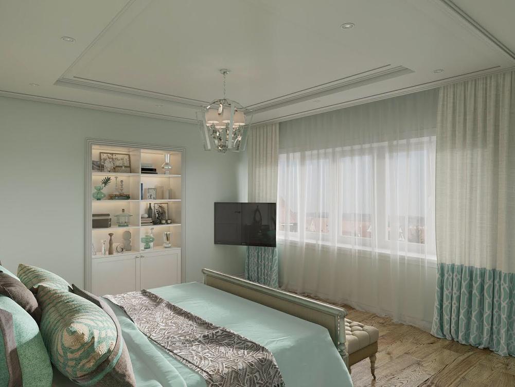 Шторы мятного цвета для спальни