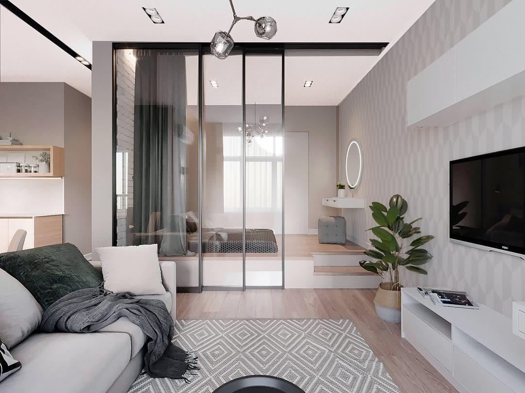 Современные шторы в спальне